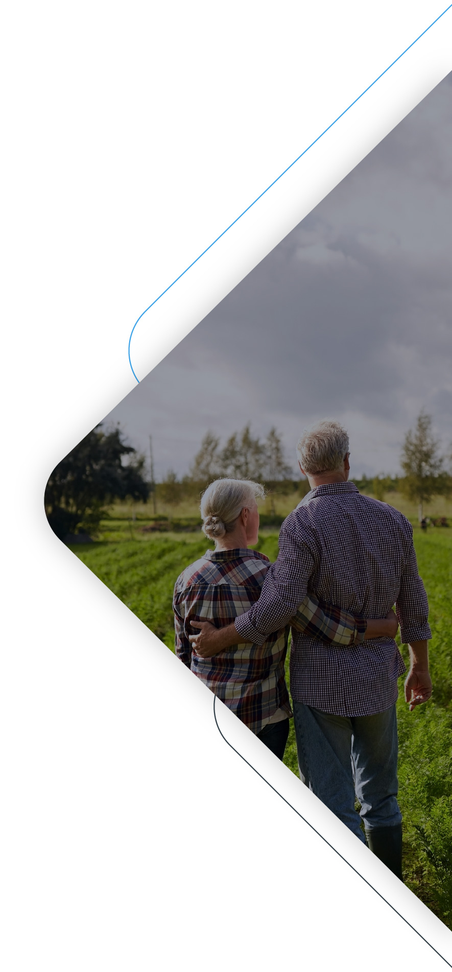 Older couple holding each other and looking in the distance on a green field